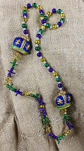 Purple Green & Gold Crown Bead