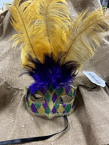 Purple Green & Gold Feather Mask