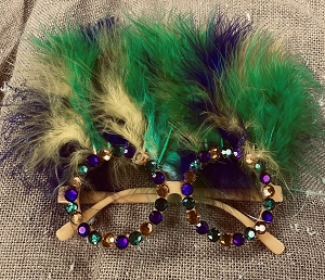 Purple Green & Gold Feather Glasses